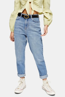 Topshop Womens Petite Mid Stone Mom Jeans - Mid Stone