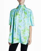 Balenciaga Floral Silk Jacquard Short-Sleeve Turtleneck Blouse