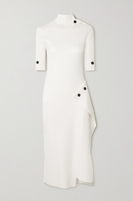 Roland Mouret Veres Button-detailed Ribbed-knit Midi Dress - Off-white