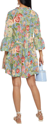 Anjuna Lucia Tiered Embellished Floral-print Broderie Anglaise Cotton Mini Dress