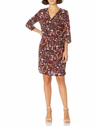 NY Collection Women's Petite Printed 3/4 Sleeve Dress with Pleated Wrap and Grommet and Tie at Waist
