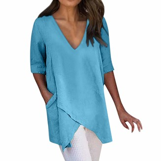 CUTUDE Women Casual T Shirts Irregular Short Sleeve Summer Pockets Tee Ladies Blouse V-Neck Vest Solid Tops Fashion (Blue M)