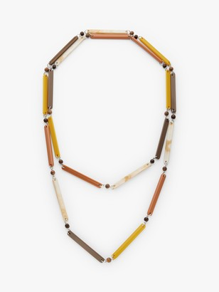 One Button Beaded Long Layered Necklace, Mustard/Chocolate