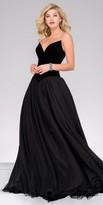 Jovani Strapless Pointed V-Shape Velvet Chiffon Ball Gown