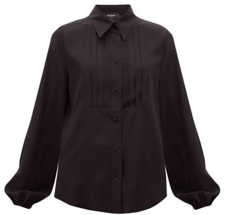 Rochas Pintucked-front Silk Blouse - Black