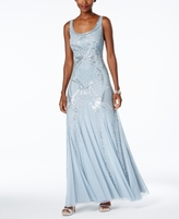 Adrianna Papell Petite Beaded A-Line Gown