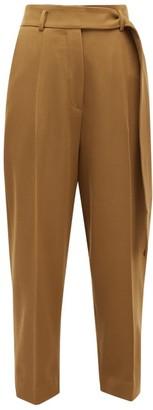 Petar Petrov Hilary High-rise Cropped Wool-twill Trousers - Womens - Khaki