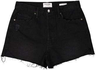 Frame Black Cotton Shorts for Women