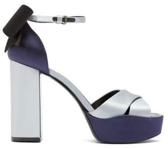 Gabor Fabrizio Viti Platform Satin Sandals - Womens - Black Blue