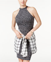 Material Girl Juniors' Plaid Wrap-Front Halter Dress, Only at Macy's