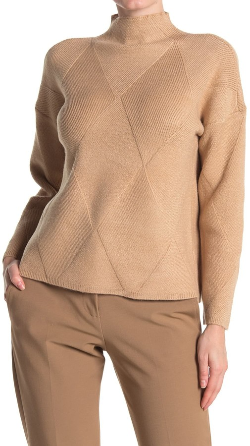 Cyrus Diamond Argyle Mock Neck Sweater