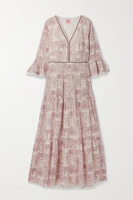 Le Sirenuse Positano Bella Tiered Chiffon-trimmed Printed Cotton Maxi Dress - Off-white