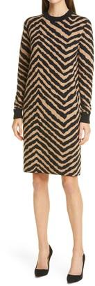 HUGO BOSS Fadrella Chevron Long Sleeve Shift Sweater Dress