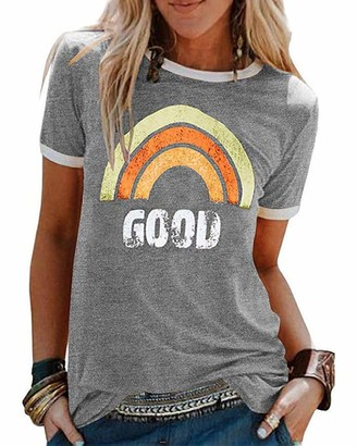 CMTOP Womens Summer T Shirt Short Sleeve Round Neck Casual Basic Tops Blouse Ladies Cotton Radiate Positivity Letter Print Rainbow Graphic Crewneck Tee Top