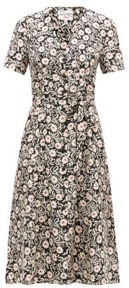 HVN Rosemary Floral-print Silk-satin Dress - Black Print