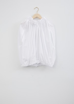 Comme des Garcons Cotton Broadcloth Ruched Shortsleeve Blouse