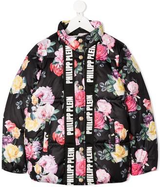Philipp Plein Padded Floral Bomber Jacket