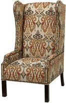 Massoud Furniture Cora Wingback Chair, Tan Ikat
