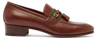 Gucci Paride Web-striped Leather Loafers - Dark Brown
