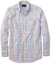 Charles Tyrwhitt Extra Slim Fit Non-Iron Poplin Green and Orange Check Cotton Casual Shirt Single Cuff Size XS