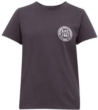 A.P.C. Logo-roundel Cotton-jersey T-shirt - Womens - Navy