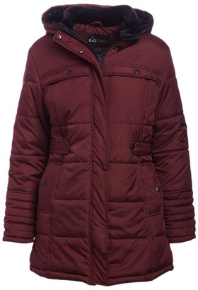 Big Chill Women's Puffer Coats BURGUNDY - Burgundy Side-Belt Hooded Berber Collar Puffer Coat - Women & Plus