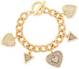GUESS Gold-Tone Pavé Heart Charm Bracelet