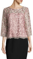 Alex Evenings Scalloped Rose Lace Top