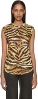 Balmain Gold & Brown Zebra Logo T-Shirt
