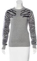 Torn By Ronny Kobo Zebra Print Rib Knit Sweater