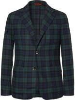 Barena Unstructured Black Watch Checked Wool-Blend Blazer