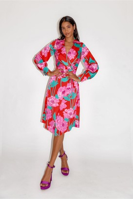 Liquorish Overscaled Floral Midi Fake Wrap Dress in Contrast Colours