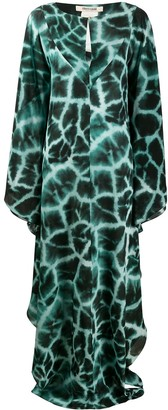 Roberto Cavalli Giraffe Print Long Dress