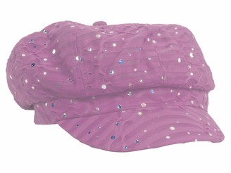 Crystal Case Greatlookz Fashion Glitter Sequin Trim Newsboy Style Relaxed Fit Cap (Pink)