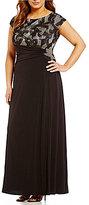 Sangria Plus Cap-Sleeve Lace Gown