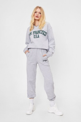Nasty Gal Womens San Francisco All Out Graphic Cuffed Joggers - Grey - S