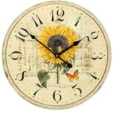 Large Decorative Wall Clock ,RELIAN 16 Inch Silent Non Ticking Vintage Wall Clocks for Room Decor Sunflower