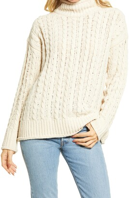 Lulus Chenille Cable Knit Turtleneck Sweater
