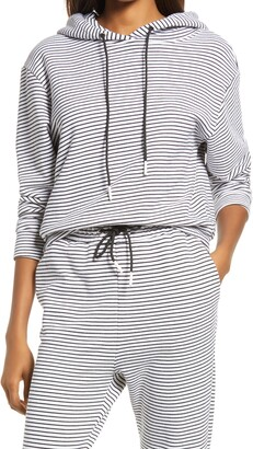 Askk Ny Stripe Crop Cotton French Terry Hoodie