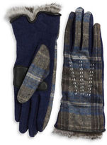 Echo Touch Fur Cuff Plaid Gloves