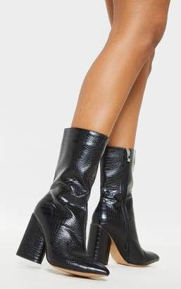 PrettyLittleThing Black Croc Chunky Block Heel Point Toe Boot