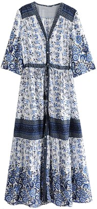 Goodnight Macaroon 'Rabea' Floral Front Button Maxi Dress (2 Colors)