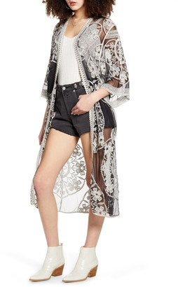 Woven Heart Embroidered Mesh Duster