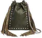 DV Women's Faux Leather Crossbody Handbag with Cinched Closure - Green