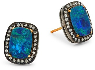 Artisan 18K Yellow Gold, Sterling Silver, Opal, & Diamond Cushion-Shaped Earrings