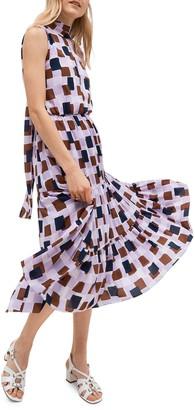 Kate Spade Geometric Flounce Midi Dress