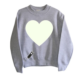 Little Mashers - Heart Print Glow In The Dark Interactive Sweatshirt- Adult - Adult Small - Grey/White