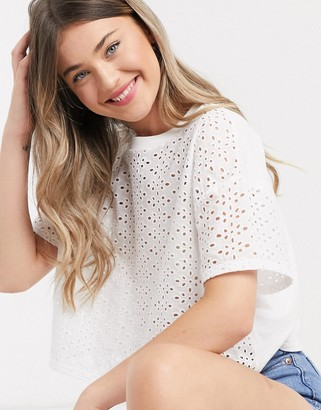 Miss Selfridge broderie front t-shirt in white