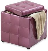 Bed Bath & Beyond Metallic Storage Ottoman - Raspberry