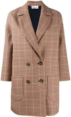 RED Valentino Houndstooth Double-Breasted Coat